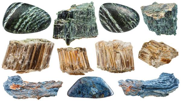 Samples of asbestos minerals